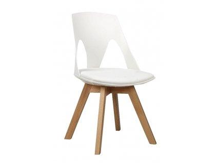Židle HOLEY s bílým polštářem - dubový základ