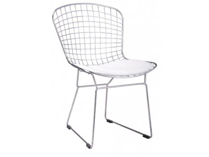 Židle Net Soft - chrom / bílý polštář