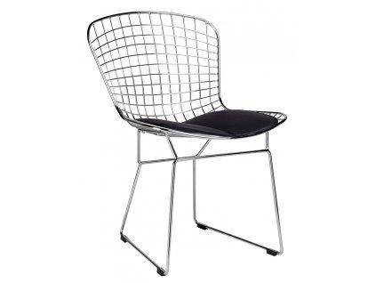 Židle NET soft - chrom / černý polštář