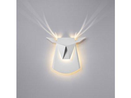 Nástěnná lampa JELEN bílá - uhlíková ocel