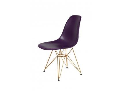 Židle DSR GOLD fialově purpurová č.39 - kovově zlatavý základ