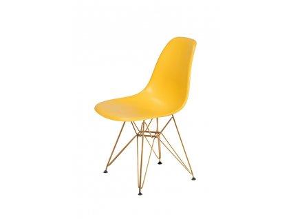 Židle DSR GOLD kanárková č.30 - kovově zlatavý základ