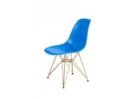 Židle DSR GOLD modrá č.11 - kovově zlatavý základ