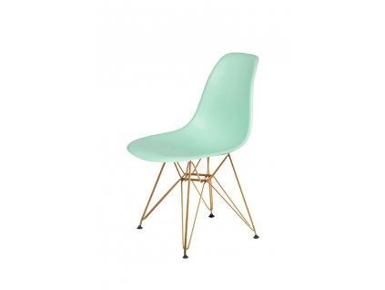 Židle DSR GOLD pastelová máta č.14 - kovově zlatavý základ