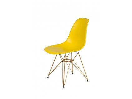 Židle DSR GOLD sluneční žlutá č.09 - kovově zlatavý základ