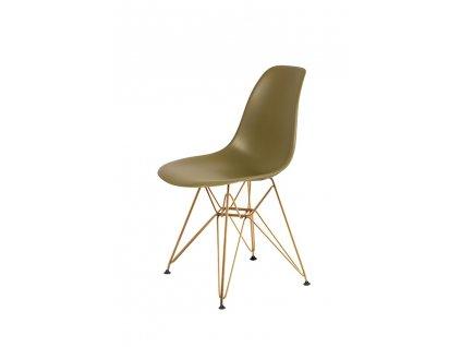 Židle DSR GOLD zelený čaj č.31 - kovově zlatavý základ