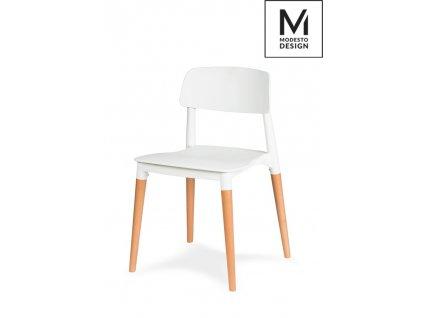 MODESTO židle ECCO bílá - polypropylén, bukový základ