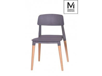 MODESTO židle ECCO šedá - polypropylén, bukový základ