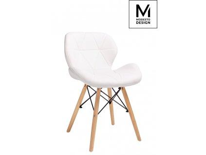 MODESTO židle KLIPP bílá - koženka, bukový základ