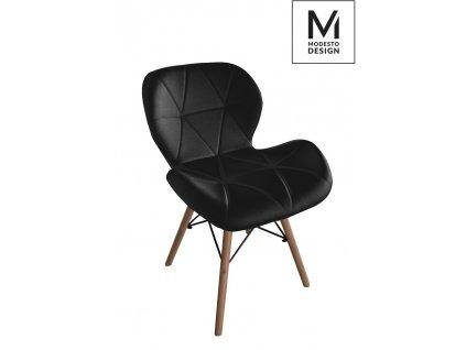 MODESTO židle KLIPP černá - koženka, bukový základ