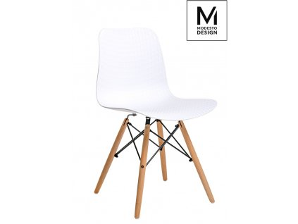 MODESTO židle KRADO WOOD bílá - polypropylén, bukový základ