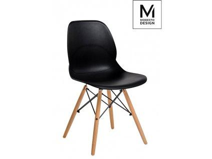 MODESTO židle LEAF WOOD černá - polypropylén, bukový základ