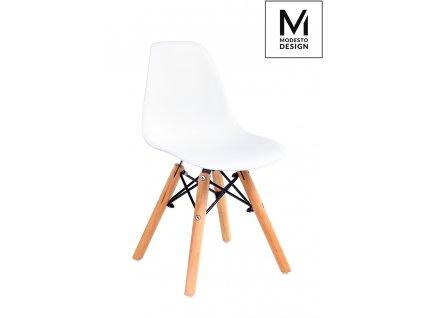 Dětská židle MODESTO JUNIOR DSW bílá - polypropylén, bukový základ