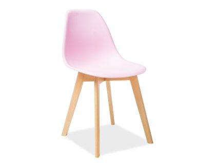 Židle MORIS buk/růžová