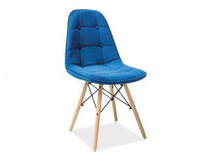 Židle AXEL III buk/tmavě modrá samet polstrování č.90