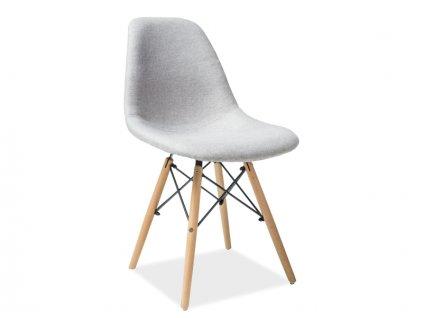 Židle COCO buk/šedá polstrování č.86