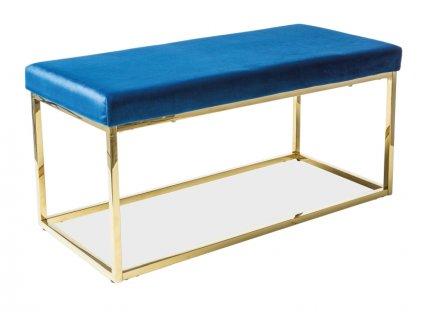Lavice FENDI zlatý/tmavě modrý samet polstrování č.106