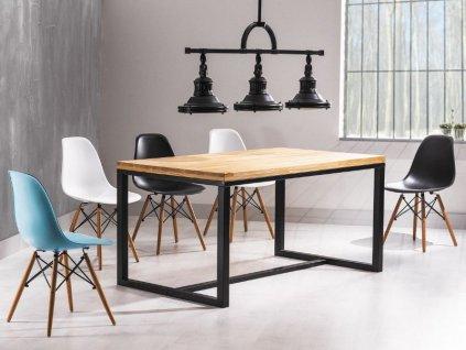 Stůl LORAS A dýha přírodní dub/černý 150x90
