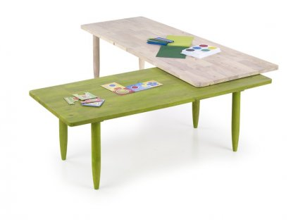 BORA BORA sada dvou stolků bílý wash / zelený