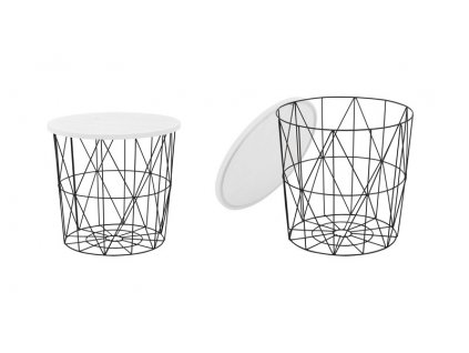 MARIFFA stolek kostra - černá, deska - bílá