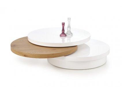 MICHELLE stolek bílý / zlatý dub