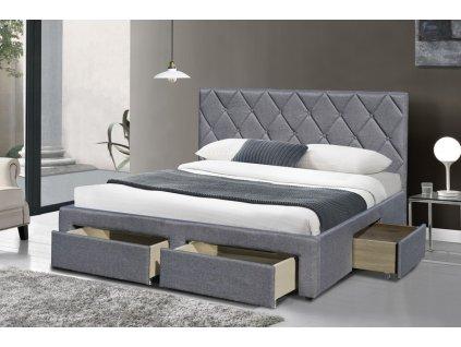 BETINA postel se zásuvkami šedá