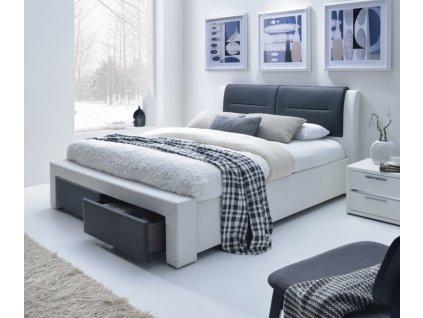CASSANDRA Z 140 cm postel čalouněné se zásuvkami černo-bílá