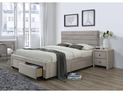KAYLEON postel se zásuvkami béžová