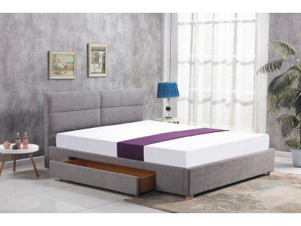 MERIDA postel se zásuvkou světle šedá