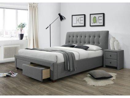 PERCY postel se zásuvkami šedá