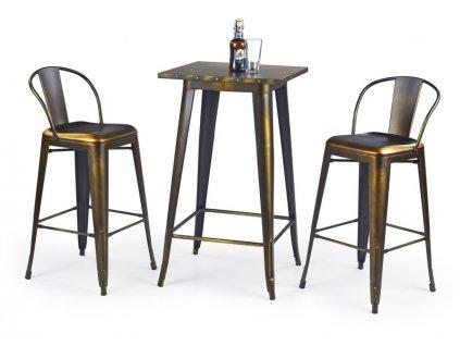 SB8 barový stůl kovový žlutá měď