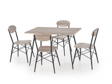KABIR obdélníkový sada stůl + 4 židle dub san remo / černá