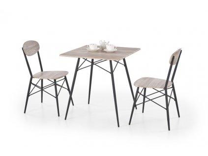 KABIR čtvercový sada stůl + 2 židle dub san remo / černá