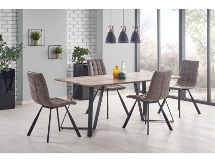 CALGARY stůl, deska - ořech rustikální, nohy - černé