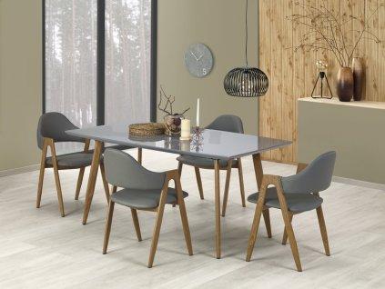 RUTEN stůl šedý / dub velbloudí