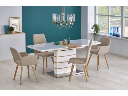 TORONTO stůl rozkládací bílý / zlatý dub