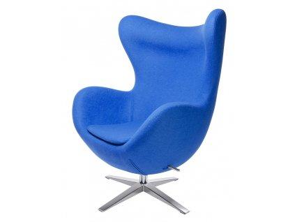 Křeslo EGG ŠIROKÉ modré č.6 - vlna, ocelový základ