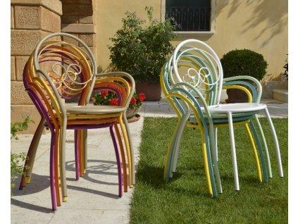Ocelové židle s područkami Fiona: rd bílá