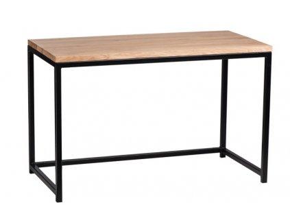 Psací stůl Hooper 120x60cm černý profil 30mm deska lakovaný přírodní dub