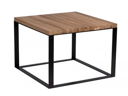 Stolek Square 45x45 černý plochý. 40 mm deska lakovaný přírodní dub