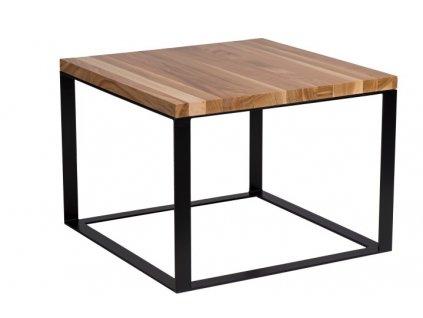 Stolek Square 45x45 černý plochý. 40 mm deska lakovaná přírodní třešeň