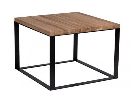 Stolek Square 60x60 černý plochý. 40 mm deska lakovaný přírodní dub