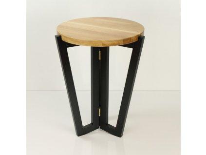 Stolek WINDMILL ROUND 450 black natural top