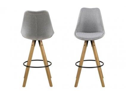 Židle barová DIMA melange šedý/wood