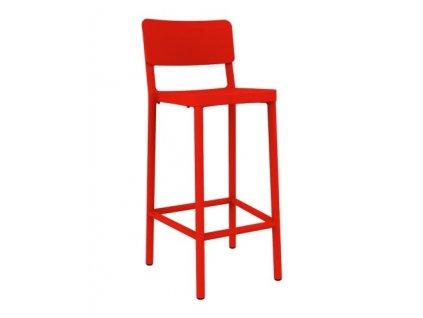 Židle barová Lisboa 75cm červený