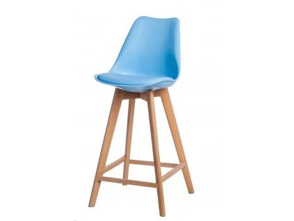 Židle barová NORDEN WOOD vysoký pp světle modrý