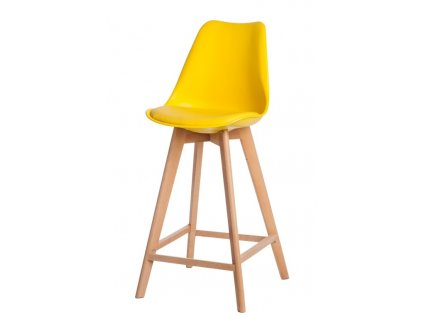 Židle barová Norden Wood vysoký PP žlutý