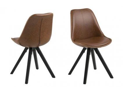 Židle DIMA hnědá/černá pu