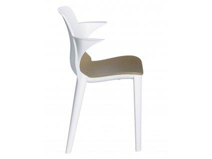 Židle s podložkou Lyza bílo - béžová
