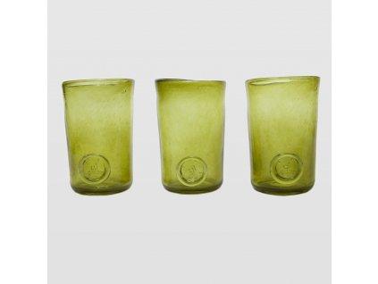 Sada sklenic Trio olivová